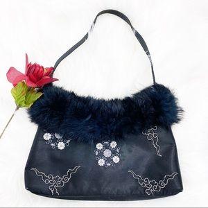 Valerie Stevens Faux Fur Embroider Black small Bag